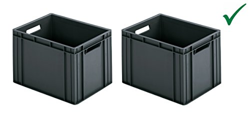 Preisvergleich Produktbild RINGOPLAST PRAKTISCHES Set! 2 x KUNSTSTOFFBOX INDUSTRIEBOX STAPELBOX LAGERBOX Transportbox Aufbewahrungsbox 40 x 30 x 26 cm Box grau UNIVERSAL HOCHBELASTBAR