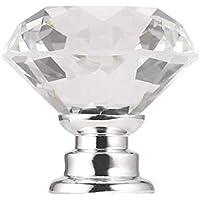 Gabinete de manija con Perilla de cajón de Puerta de Vidrio de Cristal Transparente de Diamante de 30 mm