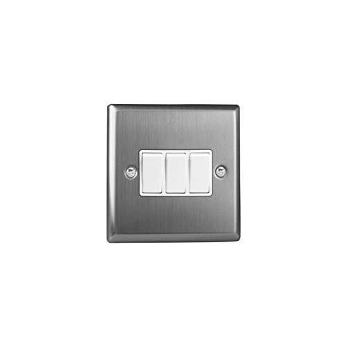 Varilight XT3W Interruptor de luz de balancín clásico de acero cepillado, 3...