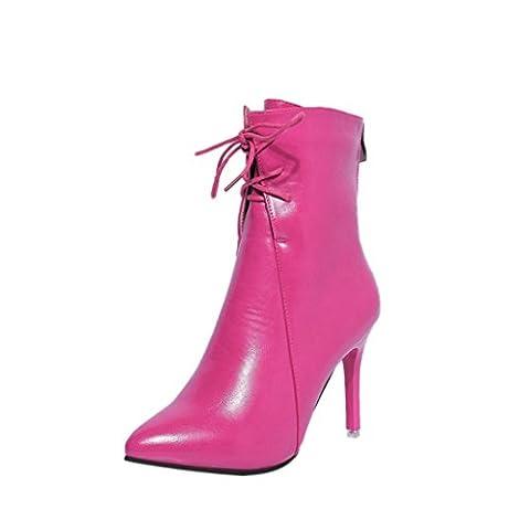 Pumps Winter, SOMESUN Schuhe Damen Stiefel Spitze Zehe Lace-Up High Heels Hochzeit Schuhe Shoes (37, pink)