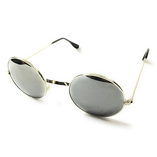 Silver Kartz Round Unisex Sunglasses (wy127|30|Off-White)