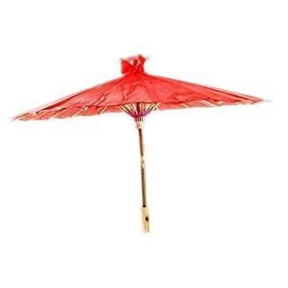 Wen Tai Sun Petit Chinoises/Japonais Floral Parasol Geisha Parapluie - 58cm diamètre - Rouge, 58cm