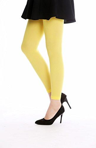 -yellow Strumpfhose Leggings Pantyhose Damenkostüm Party Karneval Halloween blickdicht gelb S/M (Halloween-leggings)