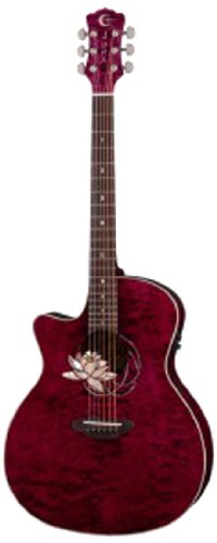 Luna Guitars FLO LOT QM L - Guitarra electroacústica (para zurdos), color marrón