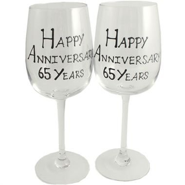 Froh 65. Jahr (Blauer Saphir) Jubiläum Wein Gläser Blk/Svr Blk-wein