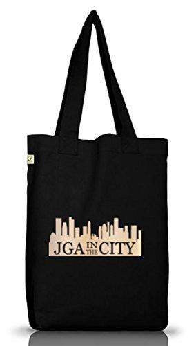 JGA 41 - JGA IN THE CITY, Junggesellenabschied Jutebeutel Stoff Tasche Black