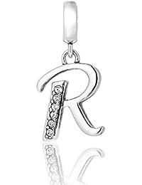 Lettre R Initiale Pendentif charm–Argent Sterling 925