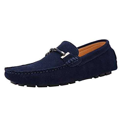 Yaer Uomo Elegante Mocassini Slip On Penny Loafers Scarpe di Guida Casuale Scamosciato Pelle Pantofola Marino 44