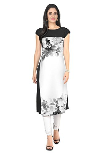 Kurti (Sai Fab Women\'s Crepe With Digital Print Printed Black & White Kurti) ( Free Size Altrable Till 42-44 OR XL)