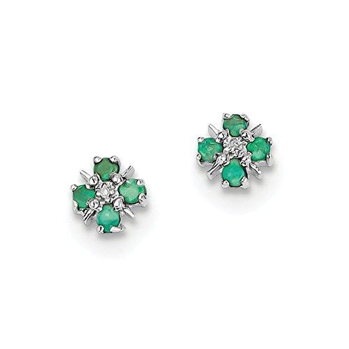925Sterling Silber Rhodium Smaragd Diamant Ohrringe Post (Nylonhaar: 7mm width: 6) (Silber Hoop-post-ohrringe)