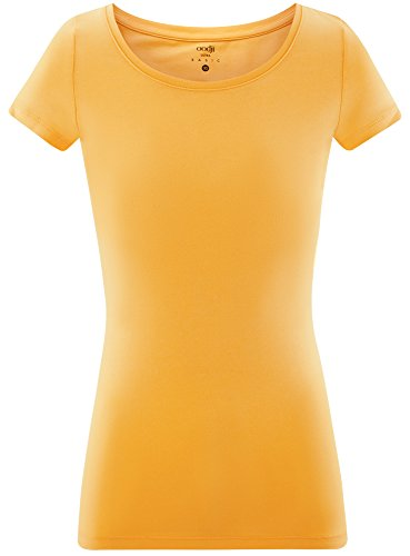 oodji Ultra Damen Tailliertes T-Shirt Basic Gelb (5200N)
