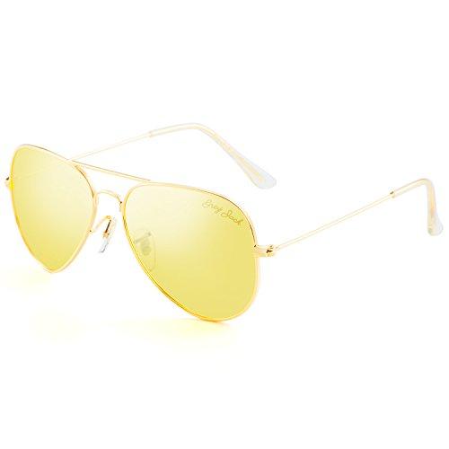Grey Jack Polarisierte Pilotenbrille Sonnenbrille Modebrille für Männer Frauen Gold Rahmen Nachtsicht Linse 58mm
