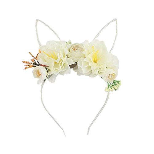 Dorical Kaninchen Haarband mit Peony Flower Beautiful Stirnband und Haarbänder für Mädchen Damen/Kostüm Parteien Deko, Halloween Weihnachten Festival Party Kopfband Kostüm ()