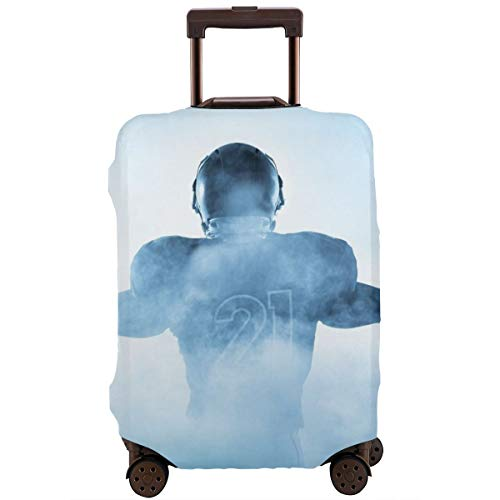 Travel Suitcase Protector,Heroic Shaped Rugby Player Silhouette Shadow Standing In Fog Playground Global Sports Photo,Suitcase Cover Washable Luggage Cover XL Samsung Rugby