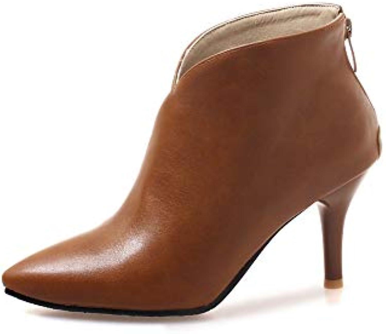 JING Chaussures à talon femme Bottes Bottes femme Martin à glissière de  Style Stiletto l  5c605a890daf
