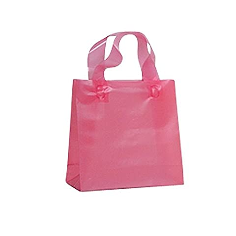 FROSTED PLASTIC BAGS WITH SOFT HANDLES - PINK BIO LOOP HANDLE BAG PACK OF 50