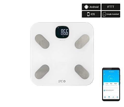 SPC Atenea Fit - Báscula de Análisis Corporal Inteligente Wi-Fi, Blanco