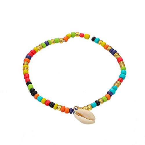 ToDIDAF Böhmische Fußkettchen Armbänder für Frauen Mädchen Farbige Reisperlen Strand Ocean Style handgemachte Muschel Geeignet für Strand Sommerferien Reisen Jubiläum Party Festival