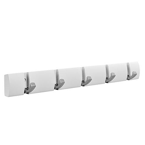 [en.casa] Stilvolle Garderobenleiste/Flurgarderobe / Hakenleiste - Holz weiß 46 x 2,8 x 5,5 cm