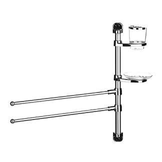 Premier Housewares – Toallero de barra (2 barras, aluminio, vaso para cepillo de dientes y jabonera)