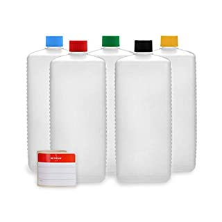 Octopus 5 x 1000 ml Kunststoffflaschen, HDPE Plastikflaschen mit bunten Schraubverschlüssen, Leerflaschen mit farbigen Schraubdeckeln, Vierkantflaschen inkl. 5 Beschriftungsetiketten