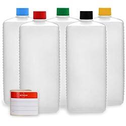 Bouteilles en plastique Octopus 5 x 1000 ml, bouteilles en plastique PE-HD avec bouchon à vis de couleur vive, bouteilles vides avec bouchons à vis colorés, bouteilles carrées. 5 étiquettes incluses.