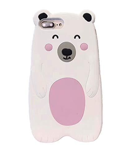 unnfiko 3D Cute Cookie Case kompatibel mit iPhone 7Plus/iPhone 8Plus, Creative Cool Fun Soft Gel Gummi Silikon Schutz Case Cover iPhone X Ice Bear White Case Cover Ice
