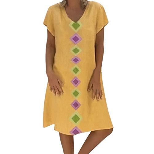 iYmitz Sommer Heißer Damen Oberteil Stil Solide Vestido Strand T-Shirts Baumwolle Beiläufig Bluse Plus Größe Kleid Für Frauen Mädchen(X5-Gelb,EU-38/CN-L) (Plus Größe Nähen Kleid Form)