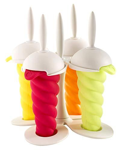 Mastrad Eis Pop Lolly Maker / Formen mit Sockel, einfach zum Reinigen, verschiedene Farben, Eis am Stiel - 4er Set