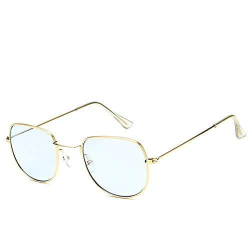 Sonnenbrille Sonnenbrille Retro Metallrahmen Uv400 Klare Linse Plain Gläser Reisen Im Sommer Sonnenbrillen Für Männer Frauen Gold Hellblau Spiegel (Plain Wayfarer Gläser)