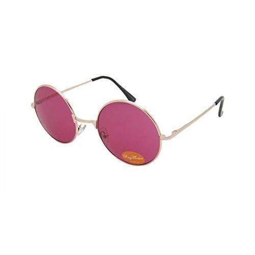 Sonnenbrille Unisex Rund Hippie Brille John Lennon getönt 400UV langer Steg rosa gold