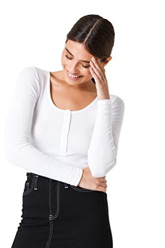 NA-KD - Damen Alltags-Oberteile Ribbed Henley Top Shirt Weiß