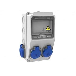 AW-TOOLS Baustromverteiler Wandverteiler 4 x 230V/16A Schuko IP44 verdrahtet o. Sicherung