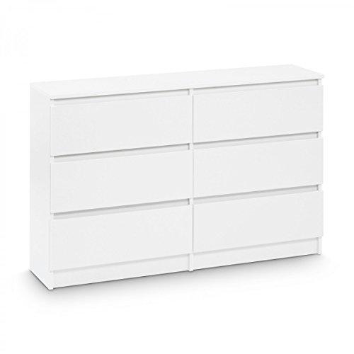 Galdem Kommode mit 6 Schubladen 120cm Sideboard Mehrzweckschrank Anrichte Diele Flur Esszimmer Wohnzimmer Weiß (Möbel Mit Kommode 6 Schubladen)