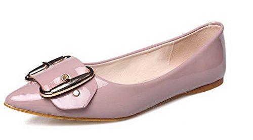 AalarDom Femme Couleur Unie Matière Souple Tire Pointu Non Talon Chaussures à Plat Rose