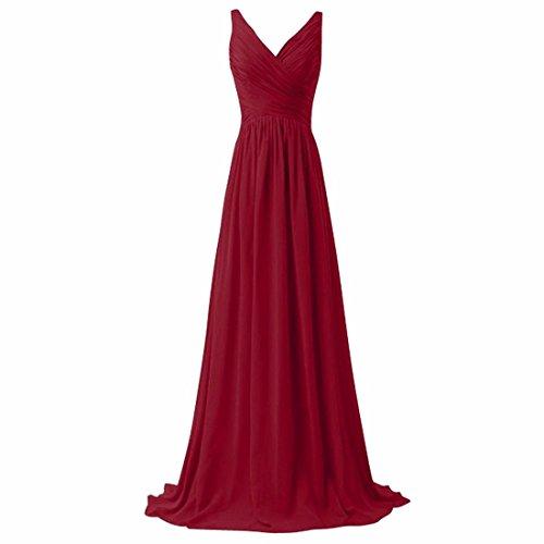 QIYUN.Z Frauen V-Ausschnitt Backless Verband Lange Abend Prom Brautjungfer Tailing Kleid Rotwein