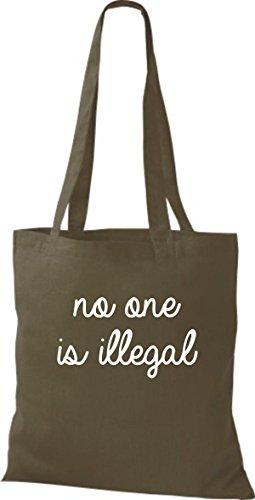 ShirtInStyle Stoff-beutel Baumwolltasche no one is illegal, niemand ist illegal, Bleiberecht Farbe Pink olive