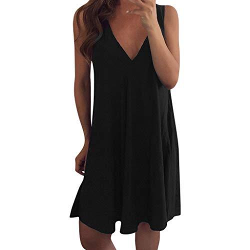 UFACE Damen Ärmellos Sommerkleid Rock Strandkleid Irregulär Kleider Drucken damen Mode Kurz Knielang Kleid Minikleid Kleidung