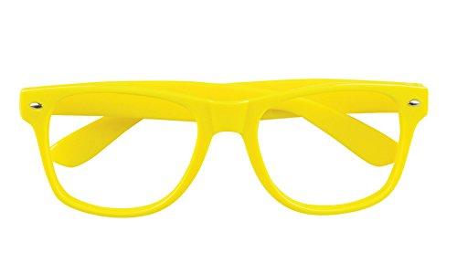 Halloweenia - Nerdbrille Brille Kostüm Neon, Gelb (Siebziger Und Achtziger Jahre Kostüm)