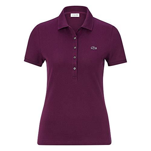 Lacoste Damen Polo Shirt Kurzarm PF7845,Frauen Polo-Hemd,5 Knopf,Slim Fit,Eggplant(FY5),36 EU -