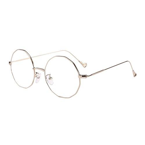 Hzjundasi Silber Irregulär Polygon Metall Rahmen Kurzsichtig Brille, Frauen Männer Ultra Licht Kurzsichtige Brillen Kurzsichtigkeit Goggles Spectacles Eyewear -0.5 Stärke
