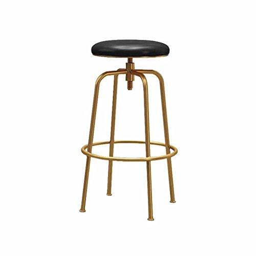 Swivel Barhocker (Barhocker Swivel Kunstleder Küche Frühstück Theke Stühle Stühle für die Rezeption Metall Schwarz + Gold Höhenverstellbar 65-85 cm Industrielle Vintage Style)