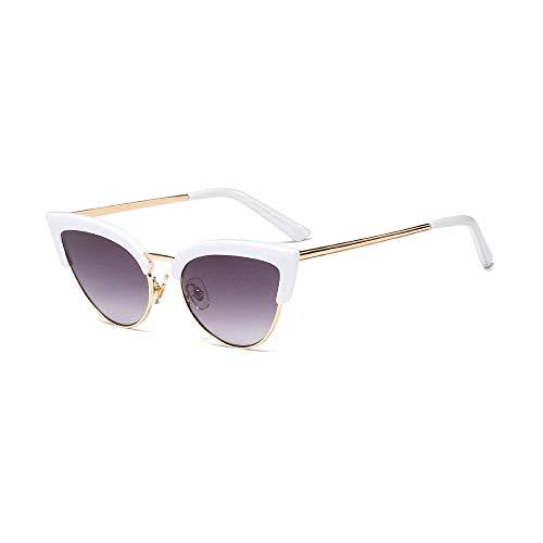 MINGW- Trending Half Frame Sunglasses for Women White Black Sexy Cat Eye Sun Glasses Female Gift Items