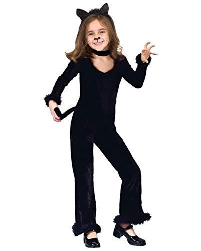 Horror-Shop Schwarzes Katzenkostüm für Mädchen als Halloween & Karnevals Kostüm L