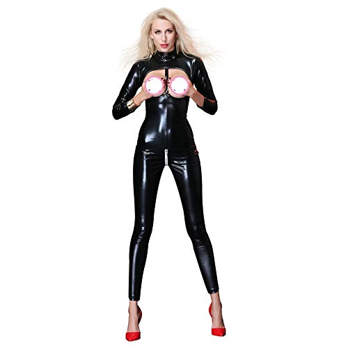 WWANGYU Ladies Sexy Dessous Reißverschluss Open Schritt Nachtclub Queen Patent Lederkleid PVC Sexy Strumpfhosen,M