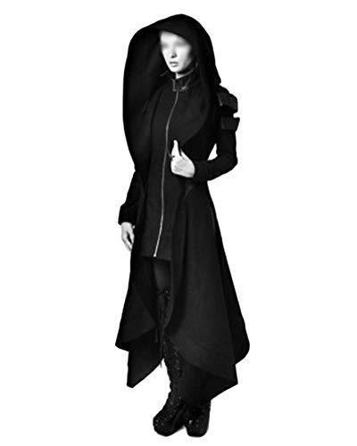 Vintage Mantel Schwarz (LiangZhu Damen Jacken Mäntel Steampunk Retro Mit Kapuze Trenchcoat Vintage Unregelmäßige Frack Oberbekleidung Gehrock Uniform Schwarz 4XL)