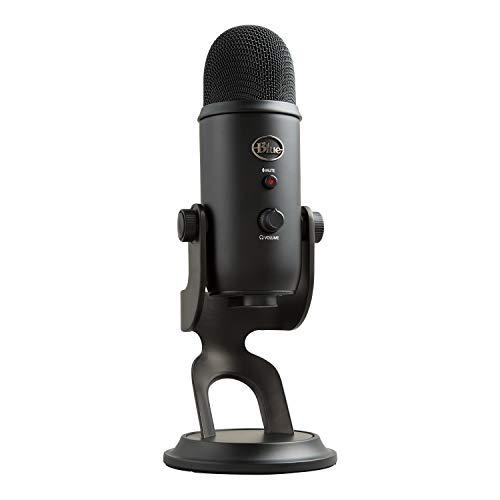 Blue Microphones Yeti USB-Mikrofon (für Aufnahme und Streaming auf PC und Mac, 3 Kondensatorkapseln, 4 Richtcharakteristiken, Kopfhörer-Ausgangs- und Lautstärkesteuerung,Plug&Play) blackout
