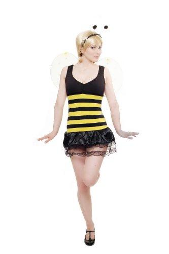Damen Damenkostüm Set Kleid & Flügel & Fühler Flotte Biene Bienchen Hummel L041 Größe 34 / XS (Sexy Bumblebee Kostüme)