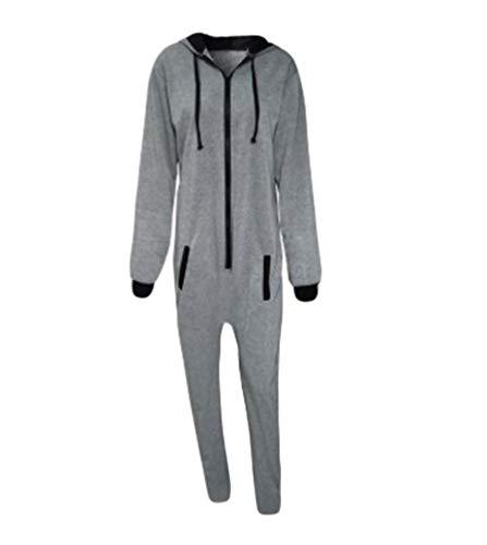 76d5a17fde NiSengs Pijama de Una Pieza Mono Onesie Jumpsuit con Capucha para Hombre o  Mujer Unisexo Pijamas Onepiece 15 LGris 3XL