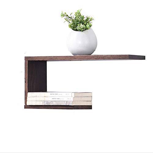 Scaffale meiduo mensola a muro, parete in puro legno massello decorazione parete della camera da letto parete del soggiorno (colore : walnut color)